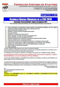 Asamblea General Ordinaria FCA @ Santander | Cantabria | España