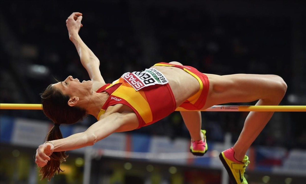 Spain s Ruth Beitia competes in the women s high jump final at the 2017 European Athletics Indoor Championships in Belgrade on March 4 2017 AFP PHOTO Andrej ISAKOVIC