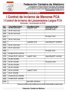 I Control de Invierno de Menores FCA / I Control de Invierno de Lanzamientos Largos FCA @ Santander | Cantabria | España