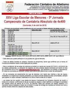 XXV Liga Escolar de Menores - 5ª Jornada / Campeonato de Cantabria Absoluto de 4x400 @ Santander, Cantabria