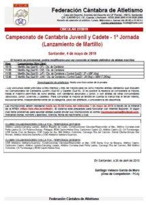 Campeonato de Cantabria Juvenil y Cadete - 1ª Jornada (Lanzamiento de Martillo) @ Santander, Cantabria