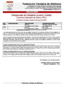 Campeonato de Cantabria Juvenil y Cadete (Concursos Aplazados de Altura y Disco) @ Camargo