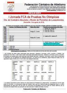 I Jornada FCA de Pruebas No Olímpicas / Campeonato de Cantabria Absoluto y Máster de Pentatlón de Lanzamientos @ Santander, Cantabria