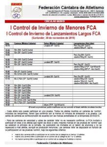 I Control de Invierno de Menores FCA / I Control de Invierno de Lanzamientos Largos FCA @ Santander, Cantabria