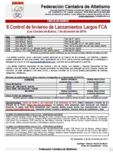 II Control de Invierno de Lanzamientos Largos FCA @ Los Corrales de Buelna, Cantabria