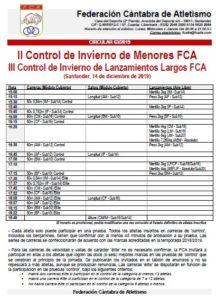 II Control de Invierno de Menores FCA / III Control de Invierno de Lanzamientos Largos FCA @ Santander, Cantabria
