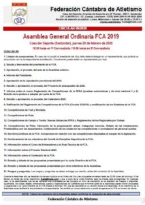 Asamblea General Ordinaria FCA @ Casa del Deporte, Santander