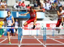 HELSINKI, FINLAND - JUNE 27: Diego Cabello of Spain competes in the Men's 400 Metres Hurdles heats during day one of the 21st European Athletics Championships at the Olympic Stadium on June 27, 2012 in Helsinki, Finland.  (Photo by Alexander Hassenstein/Bongarts/Getty Images)