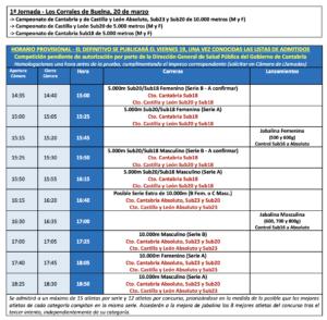 Campeonatos Autonómicos de Fondo en Pista - 1ª Jornada (Cantabria y Castilla y León) @ Los Corrales de Buelna